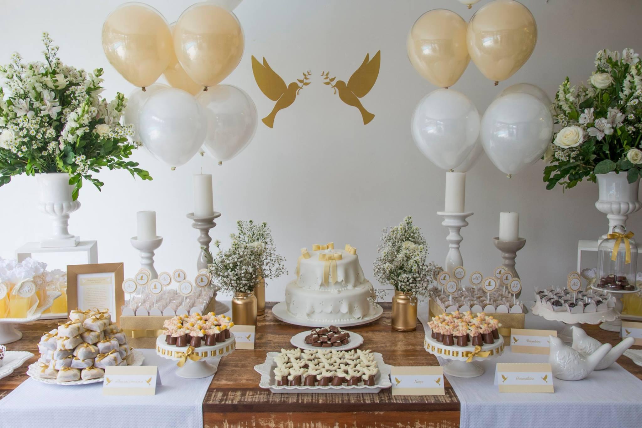 festa de batizado -> Decoracao De Batizado Branco Com Dourado