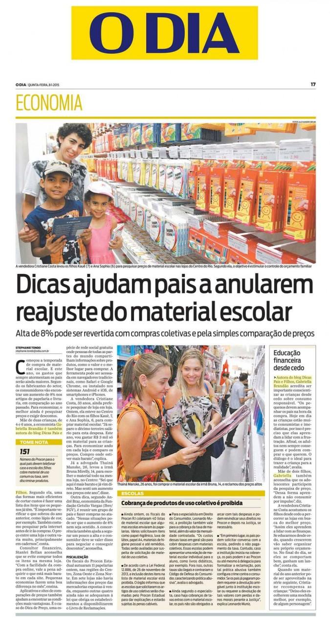 Jornal O Dia Economia 08/01/2015
