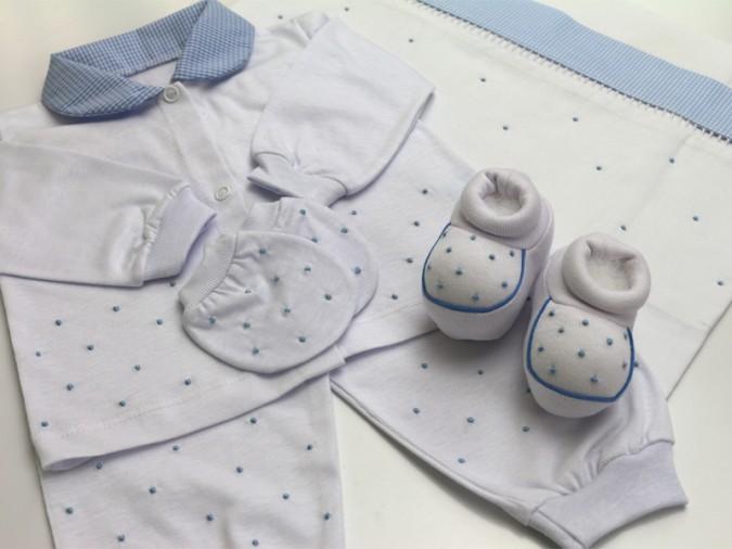 Pijama poá azul + Sapatinho