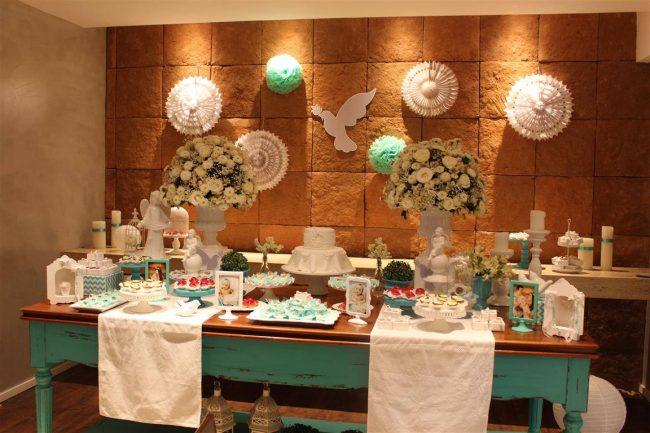 Festa Infantil: Batizado Branco e Verde Água